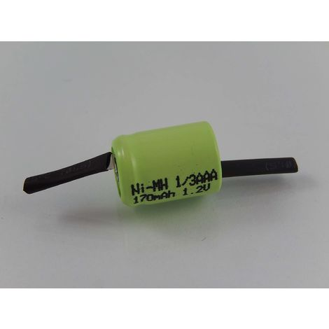 vhbw Batería Ni-Mh 1/3AAA 170mAh (1.2V) terminal de soldadura-Z para modelismo, lámparas solares, teléfonos, etc.