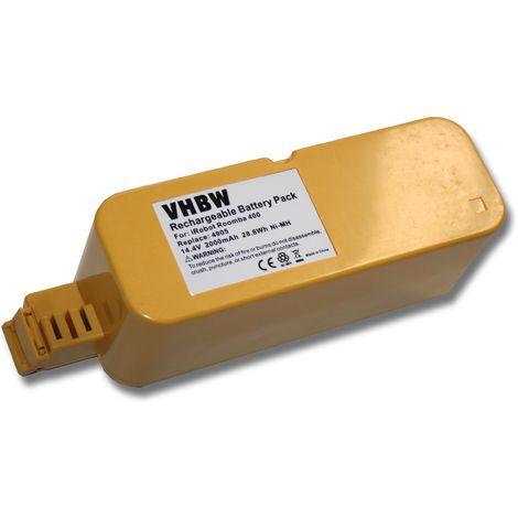vhbw Batería NiMH 2000mAh (14.4V) compatible con iRobot Roomba 400, 4000, 405, 40901, 410, 4100, 4105, 4110, 4130, 415, 4150, 416 reemplaza APS 4905.
