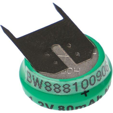 vhbw Batería NiMH de botón de repuesto (1x celdas) Tipo V80H 80mAh 1.2V compatible para construcción de maquetas, lámparas solares, etc.
