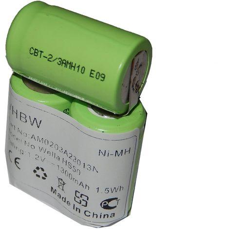 vhbw Batterie 1300mAh (3.6V) pour tondeuse à cheveux électrique Wella Xpert HS50, Tondeo ECO XP comme N-500AC 2/3A.