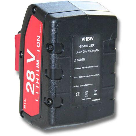 "main image of ""vhbw Batterie 2000mAh (28V) pr outil AEG Milwaukee V28PD V28CS V28IW V28HX V28H V28G V28C V28AG V28B V28JSB V28SX V28MS V28VC 0719-22 V28 0721-21 28V"""