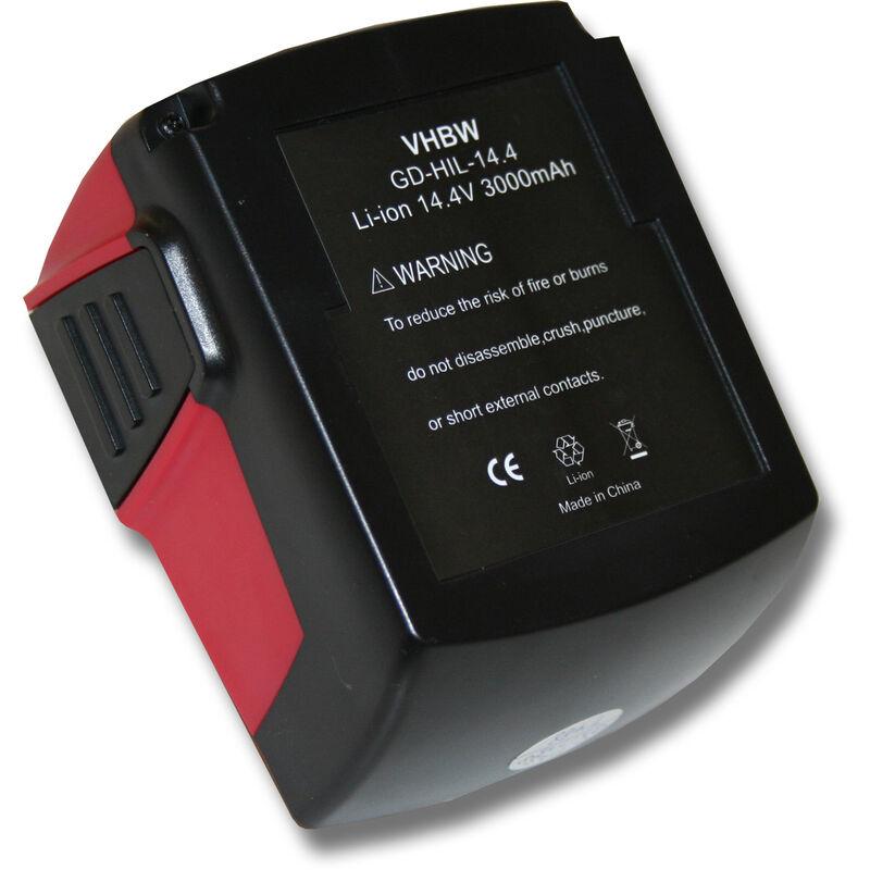 vhbw Batterie 3000mAh pour outil Hilti SF 144-A CPC 14.4 V, SF144-A, SFH 144-A, SFH 144-A CPC 14.4V, SFL Flashlight, SID 144-A CPC Impact comme B144.