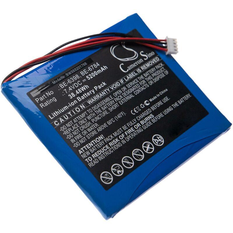 vhbw Batterie compatible avec AETeP AT-800, AT-810, AT-820, AT-830, AT-850, AT800 fibre optique OTDR, outil de mesure (5200mAh 7,4V Li-Ion)