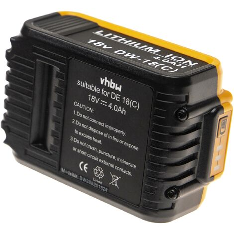 vhbw Batterie compatible avec Dewalt DCD780L2, DCD785, DCD785C2, DCD785L2, DCD790, DCD790D2, DCD795 outil électrique (4000mAh Li-Ion 18V)