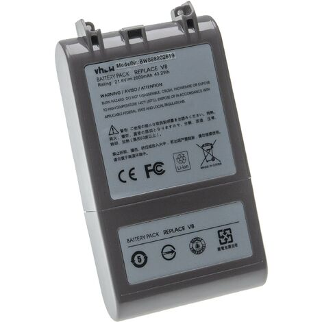 vhbw Batterie compatible avec Dyson SV10, V8, V8 Absolute, V8 Absolute Cord-Free aspirateur, robot électroménager (2000mAh, 21,6V, Li-ion)