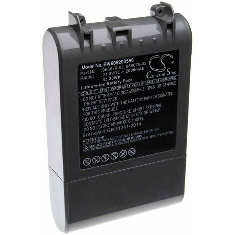 vhbw batterie compatible avec Dyson SV11, V7, V7 Motorhead Pro, V7 Motorhead vacuum, V7 Total Clean Home Cleaner (2000mAh, 21.6V, Li-Ion)