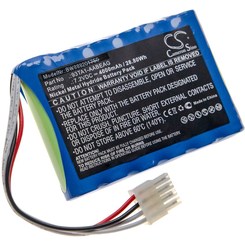vhbw Batterie compatible avec Endress+Hauser Prosonic Flow 91W, Flow 92F, Flow 93C, Flow 93P, Flow 93T outil de mesure (4000mAh 7,2V NiMH)