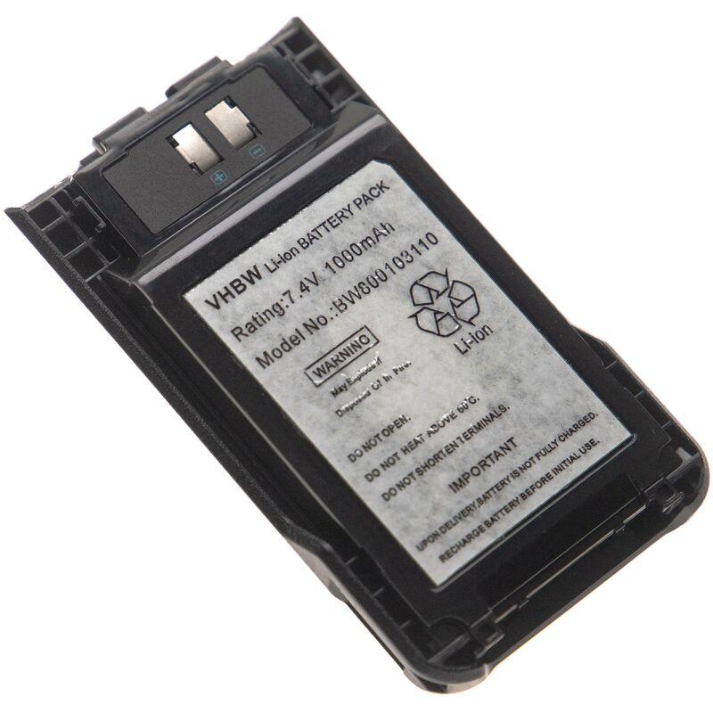 batterie compatible avec Kenwood TK-3000K2, TK-3501, TK-U100, TH-K20, TH-K20E, TH-K40 radio talkie-walkie (1000mAh 7,4V Li-ion) + clip - Vhbw