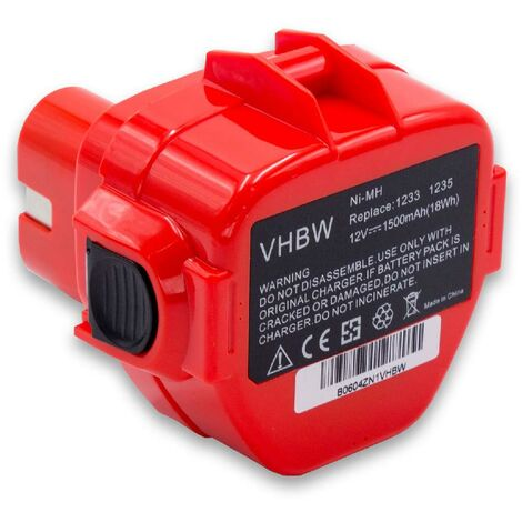 vhbw Batterie compatible avec Makita 6227D, 6227DW, 6227DWBE, 6227DWE, 6227DWLE, 6270D, 6270DWAE, 6270DWALE outil électrique (1500mAh NiMH 12V)
