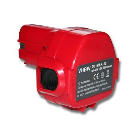 vhbw Batterie compatible avec Makita 6270DWE, 6270DWPE, 6271D, 6271DWAE, 6271DWAET2, 6271DWALE, 6271DWE outil électrique (3000mAh NiMH 12V)