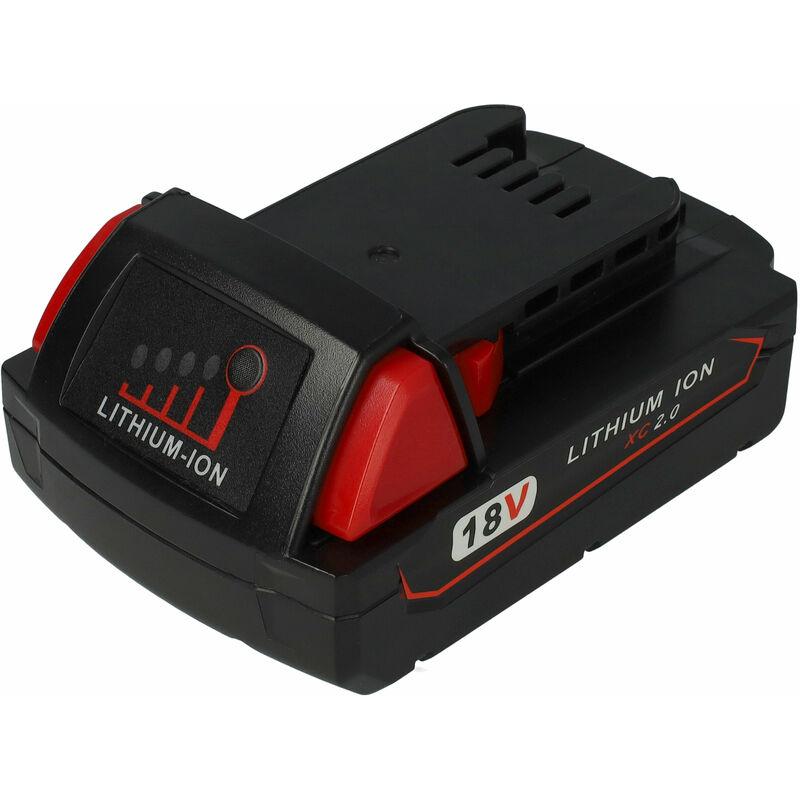 vhbw Batterie compatible avec Milwaukee 0522-25, 0522-52, 0523-20, 0523-22, 0524-20, 0524-22, 0524-24 outil électrique (2000mAh Li-ion 18V)
