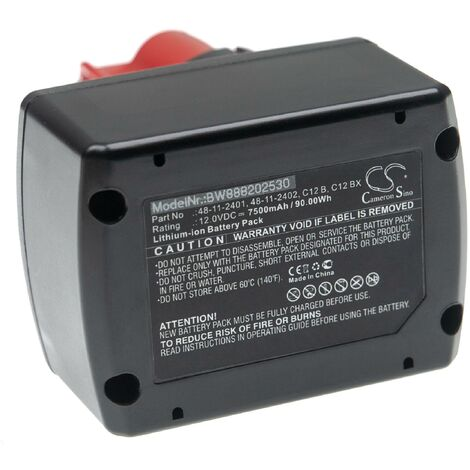 vhbw Batterie compatible avec Milwaukee M12 HPT-202C U-KIT, M12 HPT-202C V-KIT outil électrique (7500mAh Li-ion 12 V)