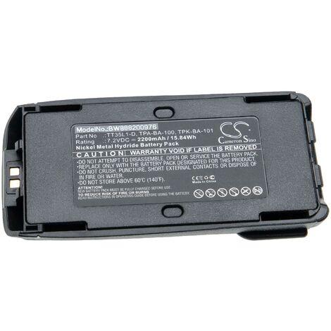 vhbw batterie compatible avec Tait TP9400 radio talkie-walkie (2200mAh, 7.2V, NiMH) + clip