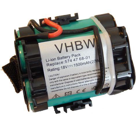 vhbw batterie Li-Ion 1500mAh (18V) pour Gardena R38Li, R40Li, R45Li, R50Li, R70Li, R75Li, R80Li, 124562 Tondeuse à gazon