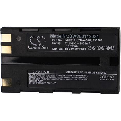 vhbw Batterie Li-Ion 2800mAh (7.4V) pour caméra laser Geomax ZT80+ comme 724117, 733269, GEB90.