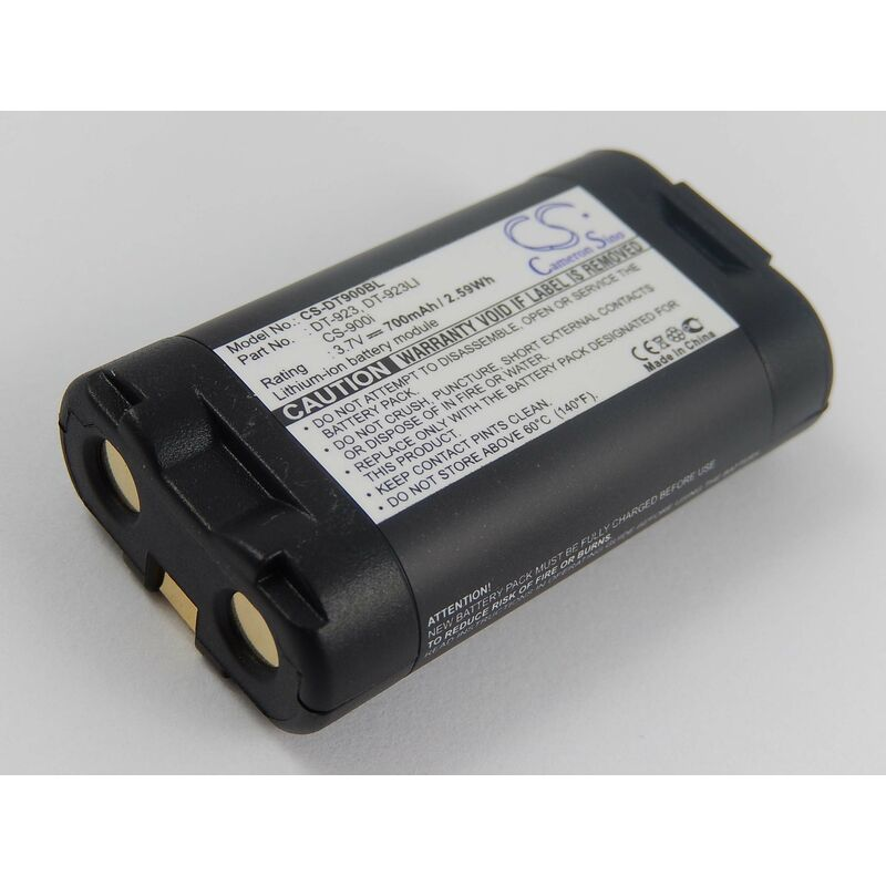 vhbw Batterie Li-Ion 700mAh (3.7V) lecteur, terminal de données, POS Casio DT-900M51, DT-900M51E, DT-923, DT-923LI comme DT-923, CS-900i, DT-923LI