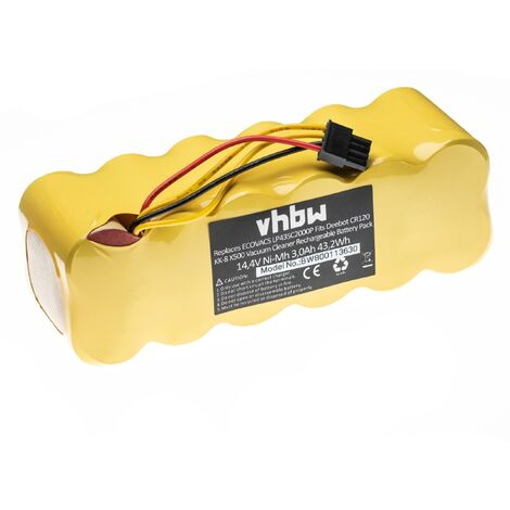 vhbw Batterie NiMH 3000mAh (14.4V) pour Aspirateur Robot de maison Ariete Briciola 2711 et LP43SC2000P.