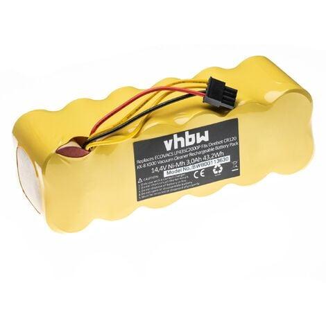 vhbw batterie NiMH 3000mAh (14.4V) pour Aspirateur Robot de maison Ecovacs Deebot CR120, KK-8, X-500, X500 comme LP43SC2000P.