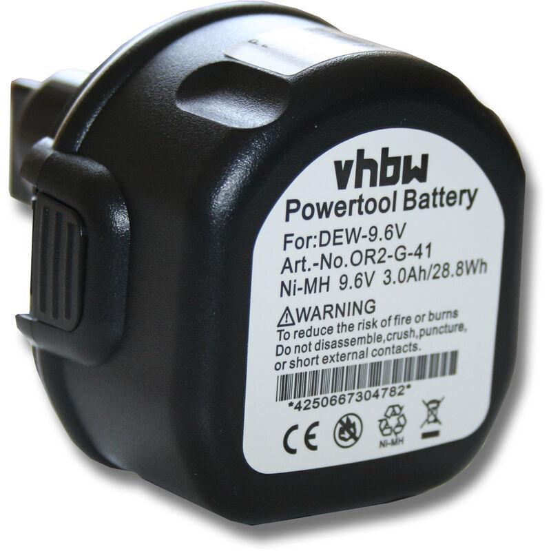 vhbw Batterie compatible avec Black & Decker CD231K, CD9600K, CD9600K-2, FS96, FSL96, HP 131K-2, HP131K-2 outil électrique (3000mAh NiMH 9,6V)