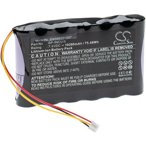 vhbw Batterie remplace Fluke Biomedical BP-INCU II pour appareil de médecine testeur pour incubateur (10200mAh, 7,4V, Li-Ion)