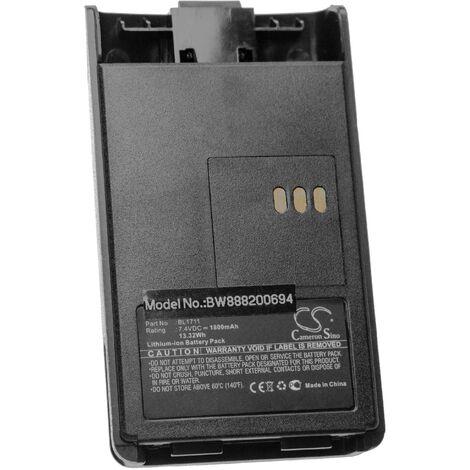 vhbw batterie remplace HYT BL1711 pour radio talkie-walkie (1800mAh, 7.4V, Li-Ion) + clip
