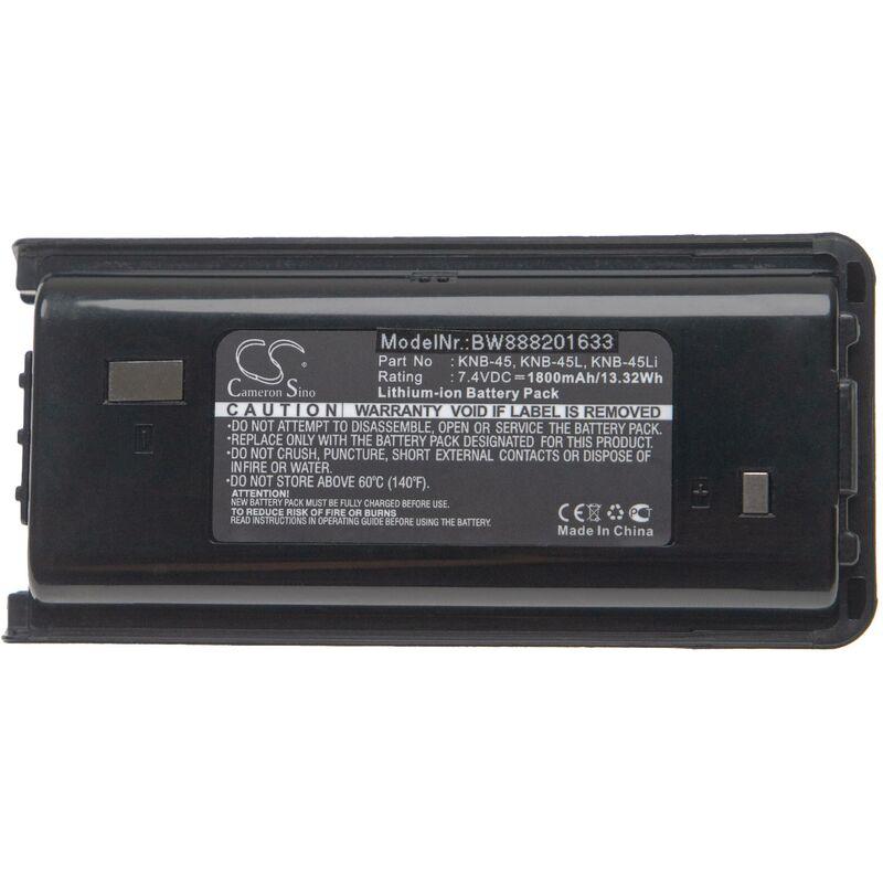 batterie remplace Kenwood KNB-45, KNB-45L, KNB-45Li pour radio talkie-walkie (1800mAh 7,4V Li-Ion) - Vhbw