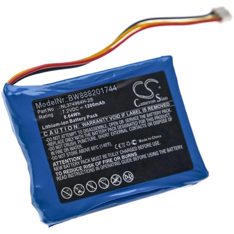 vhbw Batterie remplace Tosight NL374964H-2S pour outil de mesure (1200mAh 7,2V Li-Ion)