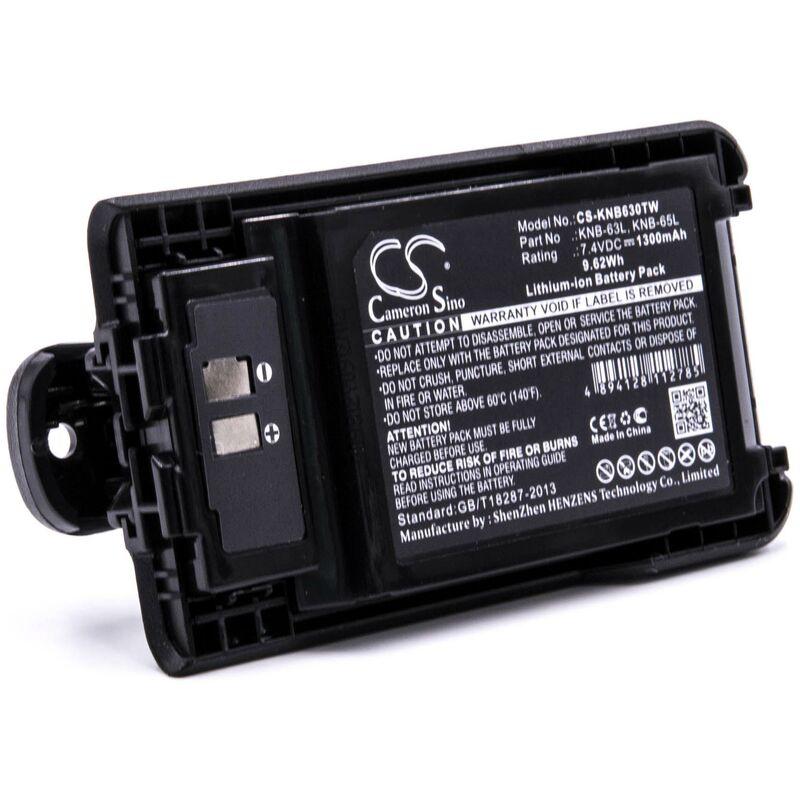 vhbw batterie remplacement pour Kenwood KNB-63L, KNB-65L pour radio talkie-walkie (1300mAh 7,4V Li-ion) + clip