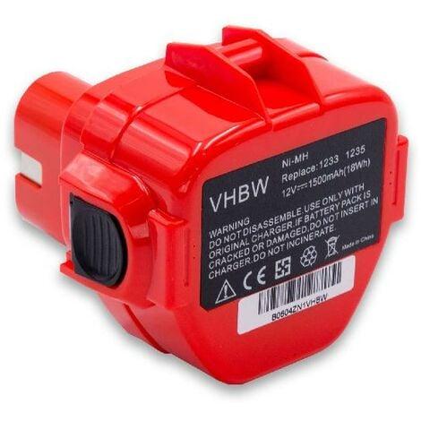 vhbw Batterie remplacement pour Makita 1220, 1222, 1233, 1234, 1235, 1235F, 1250, 192536-4, 192597-4 pour outil électrique (1500mAh NiMH 12V)
