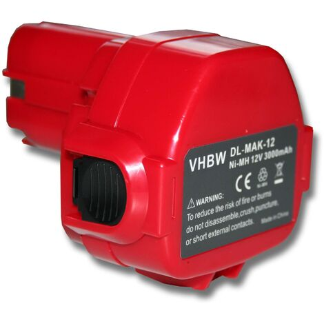 vhbw Batterie remplacement pour Makita 1220, 1222, 1233, 1234, 1235, 1235F, 1250, 192536-4, 192597-4 pour outil électrique (3000mAh NiMH 12V)