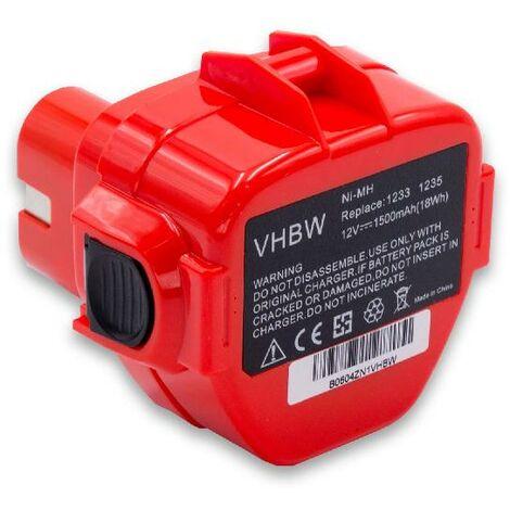 vhbw Batterie remplacement pour Makita 193138-9, 193157-5, 193969-6, 193981-6, 193983-2, 638347-8, 638347-8-2 pour outil électrique (1500mAh NiMH 12V)