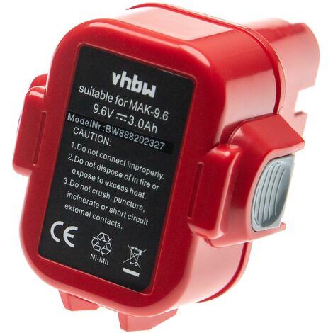 vhbw Batterie remplacement pour Makita 9134, 9135 pour outil électrique (3000mAh NiMH 9,6V)