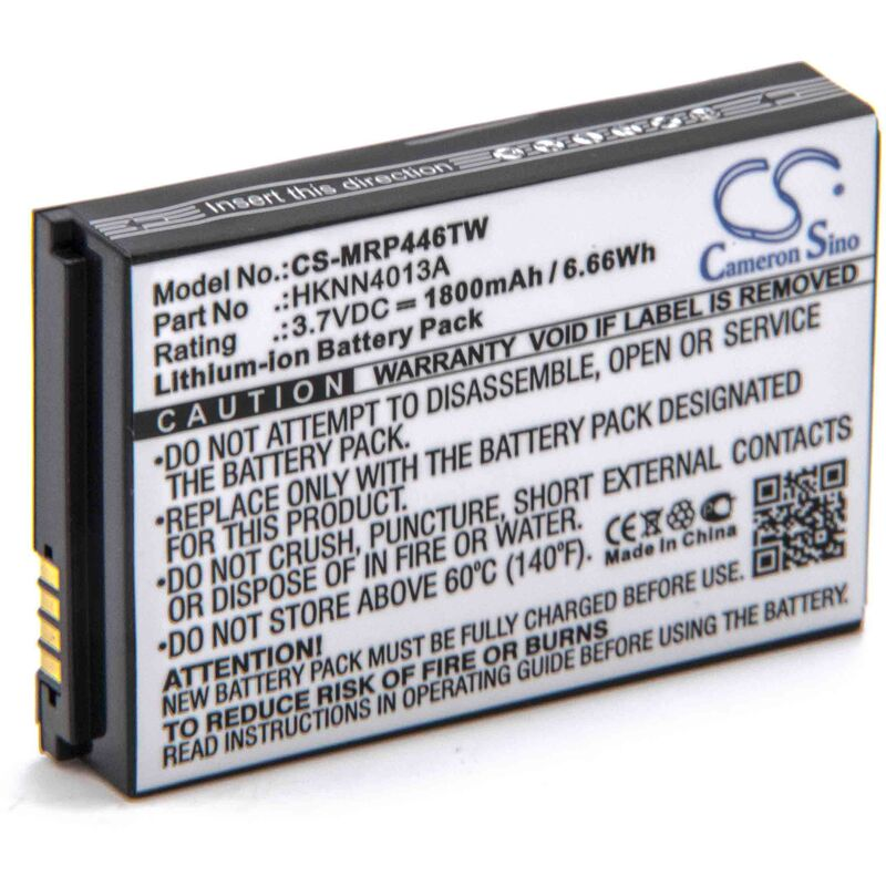 Batterie remplacement pour Motorola BT90, HKLN4440B, HKNN4013A, HKNN4013B, SNN5759, SNN5765 pour radio talkie-walkie (1800mAh, 3,7V, Li-ion) - Vhbw
