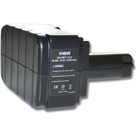 vhbw battery 3300mAh (15.6V) for tool Metabo BS 15.6 plus, BST 15.6, BST 15.6 Plus, ULA9.6-18 & 6.02260.00, 6.02276.51, 6.02293.50, 6.02307.51.