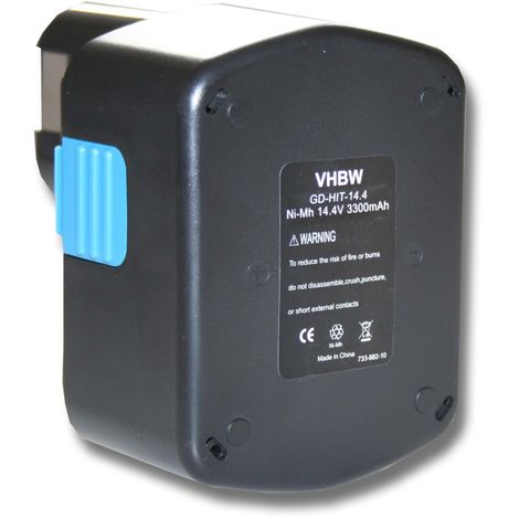 vhbw Battery 3300mAh for Tool Hitachi C-2, CJ 14DL, D V14DCL, DH 14DL, DS 14DAF2, DS 14DFLDS, WH 14DH replaces 315128, EB 1420RS EB 1424 EB 1426H etc.