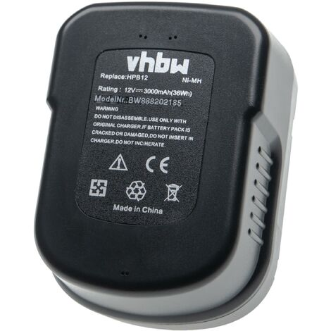 vhbw Battery compatible with Black & Decker BD12PSK, BDBN1202, BDG1200K, BDGL12K, BDID1202 Electric Power Tools (3000mAh NiMH 12V)