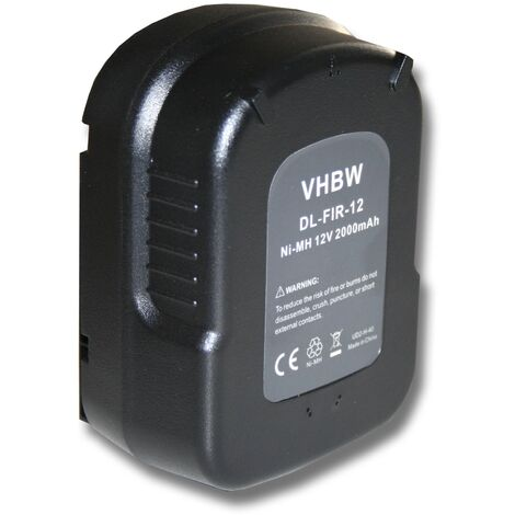 vhbw Battery compatible with Black & Decker FS1202BN, FS1202D, FS12PS, FS12PSK, FSD122, HP122K Electric Power Tools (2000mAh NiMH 12V)