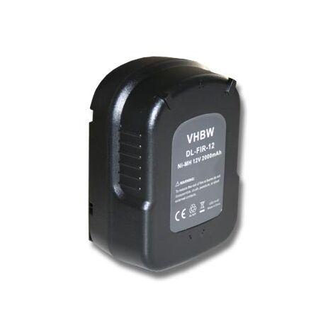 vhbw Battery compatible with Black & Decker HP122KD, HP126F2B, HP126F2K, HP126F3B, HP126F3K Electric Power Tools (2000mAh NiMH 12V)