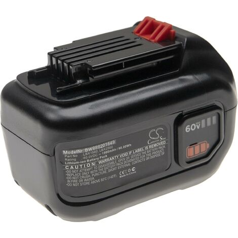vhbw Battery compatible with Black & Decker LHT360CFF 60V MAX Hedge Trimmer, LST560, LSW60, LSW60C Electric Power Tools (1500mAh Li-Ion 60V)