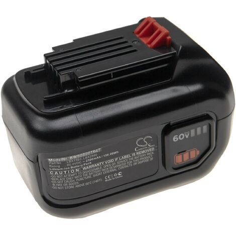 vhbw Battery compatible with Black & Decker LHT360CFF 60V MAX Hedge Trimmer, LST560, LSW60, LSW60C Electric Power Tools (2500mAh Li-Ion 60V)