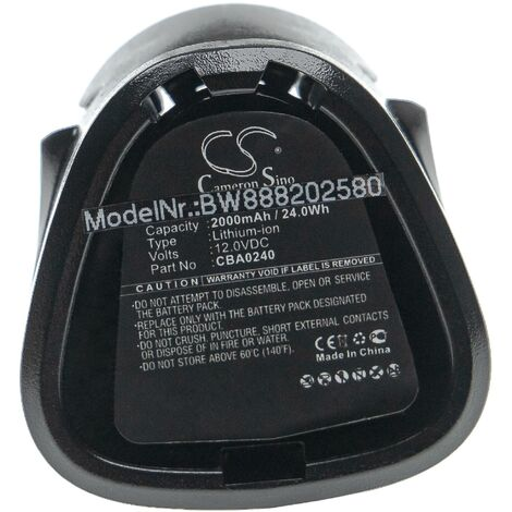 vhbw Battery compatible with EGO CHT2001E Cordless Shrub, CHT2001E Grass Shears Electric Power Tools (2000mAh Li-Ion 12V)