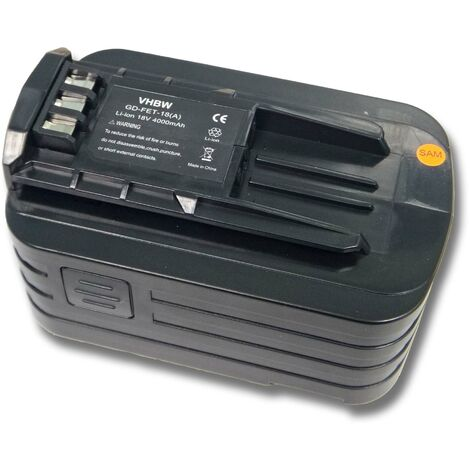 vhbw Battery compatible with Festo / Festool T 18+3/PSC 420 Li, T 18+3 Li, T18 Drill Drivers Electric Power Tools (4000mAh Li-Ion 18V)