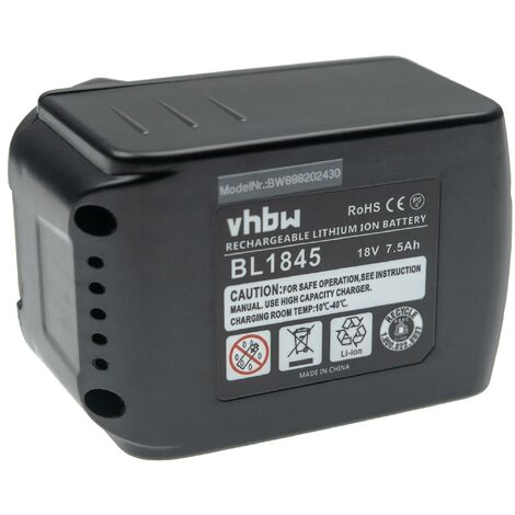 vhbw Battery compatible with Makita CL182FD, CL182FDRFW, Cordless Cleaner, D145DRFX, DA350DRF Electric Power Tools (7500mAh Li-Ion 18V)