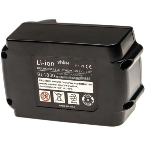 vhbw Battery compatible with Makita LXDT01, LXDT01Z, LXDT01Z1, LXDT04Z, LXDT04Z1, LXDT06Z Electric Power Tools (3000mAh Li-Ion 18V)