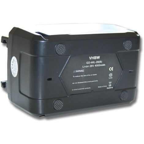 vhbw Battery compatible with Milwaukee V28 MS, V28 PD Electric Power Tools (4000mAh Li-Ion 28V)