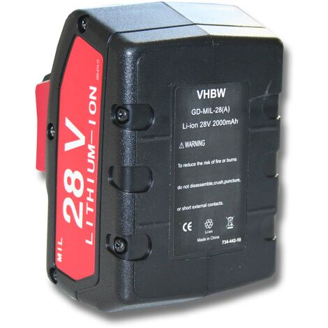 vhbw Battery compatible with Milwaukee V28 VC Staubsauger Electric Power Tools (2000mAh Li-Ion 28V)
