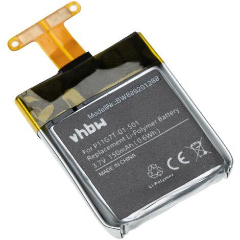 vhbw Battery compatible with Pebble Time 501-00020 Smartwatch Watch Fitness Bracelet (150mAh, 3.7V, Li-Polymer)