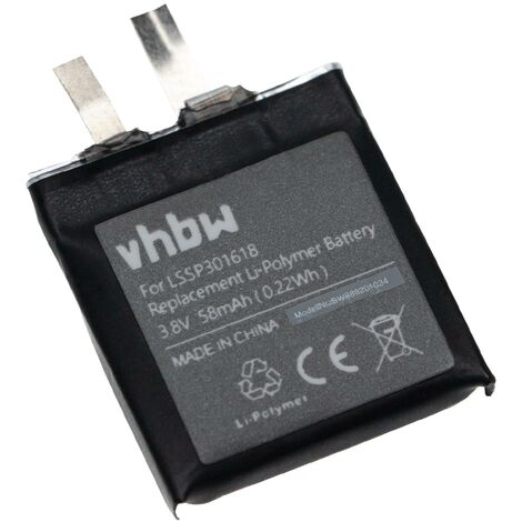 vhbw Battery compatible with Pebble Time Round Laptop (58mAh, 3.8V, Li-Polymer)