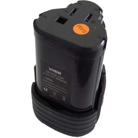 vhbw Battery compatible with Rockwell RK2512K, RK2512K2, RK2513, RK2513K2, RK2515K2, RK2516, RK2516K Electric Power Tools (2000mAh 12V Li-Ion)