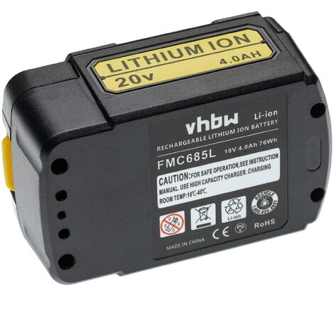 vhbw Battery compatible with Stanley FatMax FMC620LB, FMC625D2, FMC645D2, FMC650M2, FMC670LB, FMC675B Electric Power Tools (4000mAh Li-Ion 18V)